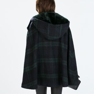 Zara Fur Hooded Cape Plaid poncho coat M